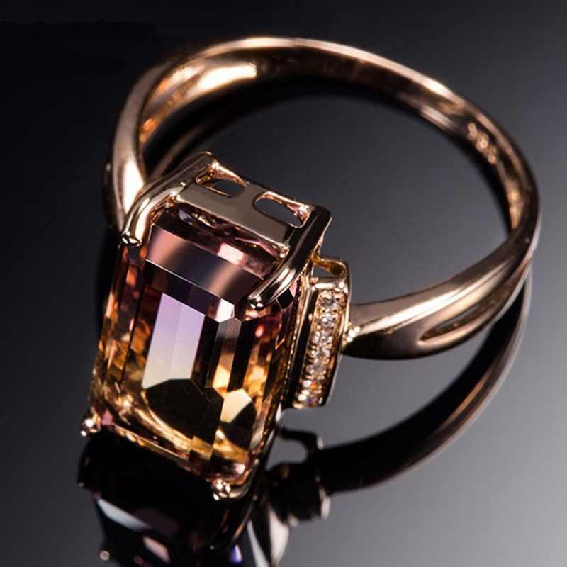 ปรับ Rose Gold สี Silver กำไลข้อมือ Ametrine ธรรมชาติแหวนอัญมณีที่หายาก 2 สีสุภาพสตรีแหวน
