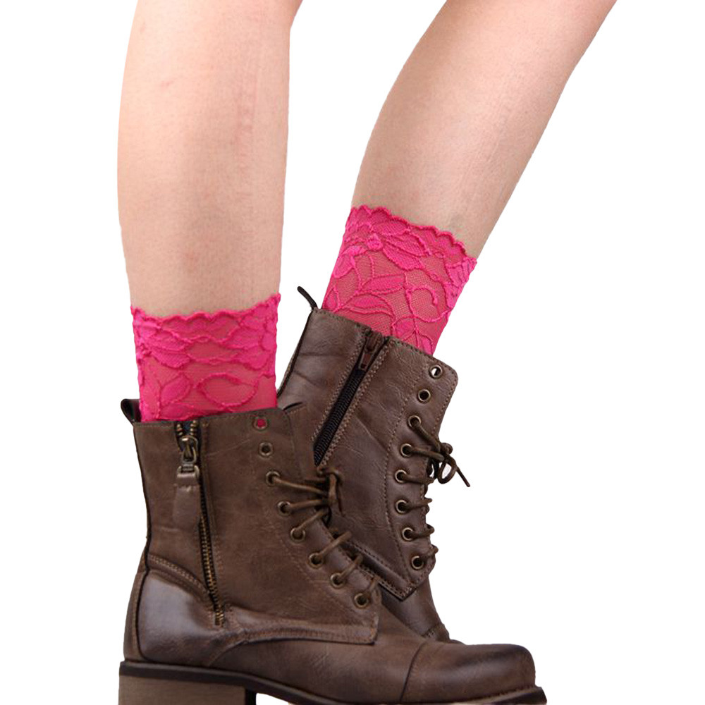 Short Feminino Stretch Lace Boot Leg Cuffs Laced Boot Socks Women Chausettes Femme ...
