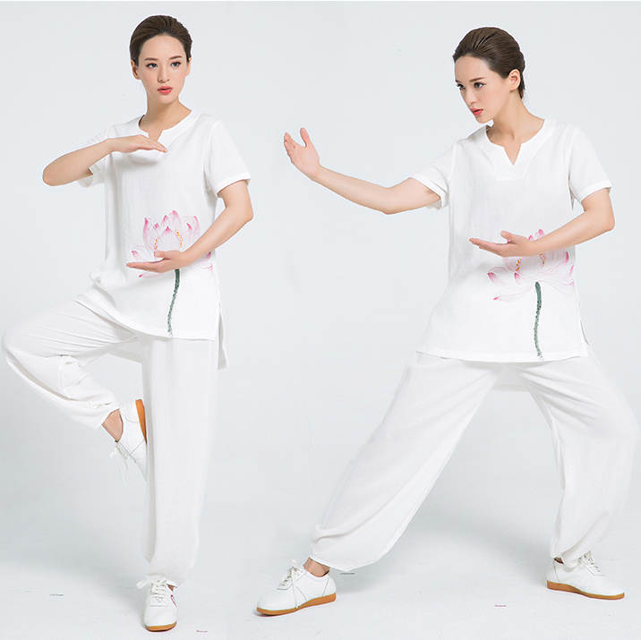 2018 New Product V-neck Linen  Hand Painted Short Sleeve Tai Chi Clothes Women Chinese Martial Arts Uniform 7 Colors