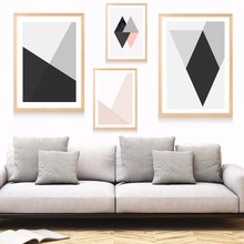 ФОТО Scandinavian Geometric Patterns Canvas Art Print Painting Poster Wall Pictures  Living Room Decor Home Decorative No Frame