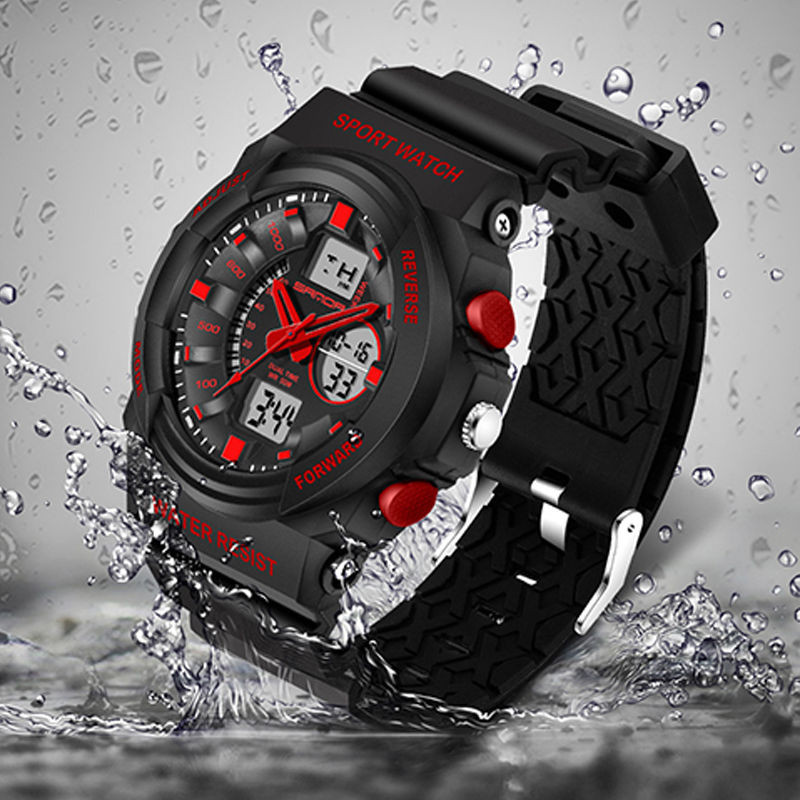 Splendid New Sport Waterproof 30 bar Mens LCD Digital Analog Quartz Date Alarm Wrist Watch Masculino Reloje Drop Ship brand new ohsen rectangle dial digital dual time lcd mens date alarm stopwatch analog quartz sport leather wrist watch ohs034