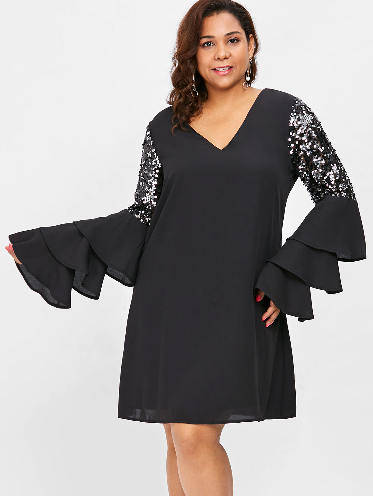 Detail Feedback Questions about Wipalo Plus Size 5XL Tiered Flare Sleeve  Sequin Embellished Mini Dress Solid V Neck Shift Dress Elegant Party Dress  Vestidos ... 40e9c5116030