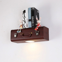 Настенный светильник кожаный чемодан случае Дизайн коричневый гладить бра свет Прихожая бар Кофе магазин внутреннего освещения полка наст