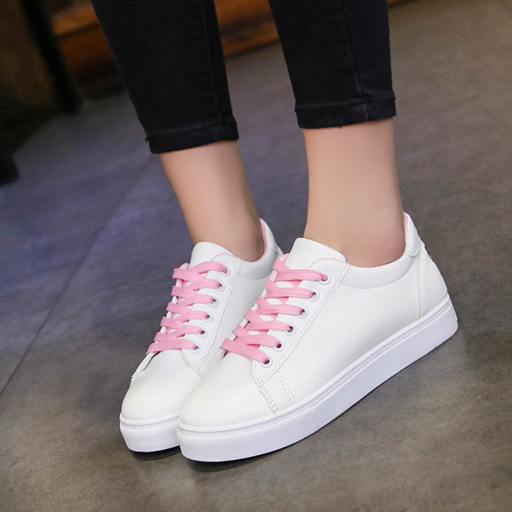 KANCOOLD women's cartoon embroidery sneakers waterproof leather low running shoes