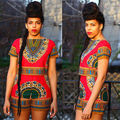 2016 Fashion Womens Sexy Summer Traditional African Print Dashiki Bodycon 2pcs Clothes Set