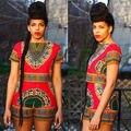 2016 de Moda de Verano Para Mujer Sexy Impresión Tradicional Africano Dashiki Bodycon 2 unids Ropa Fijada