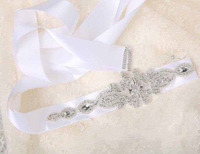 2016 New Arrival Rhinestones Crystals Beaded Wedding Sash Belt Satin Ribbon Brial Sashes for Weddings