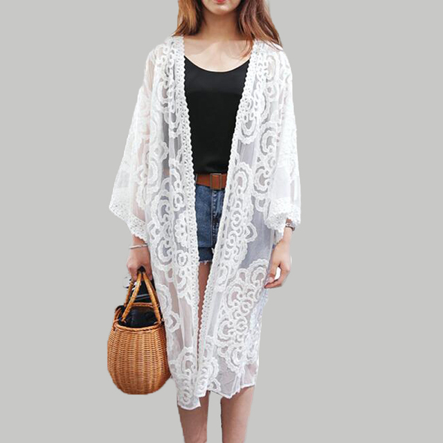 2017 Women Summer Lace Cardigan Three Quater Sleeve Floral ...