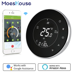 BHT-6000-GCLW Water/Gas Boiler Thermostat Backlight WIFI 3A Weekly Programmable LCD Touch Screen Works with Alexa Google home