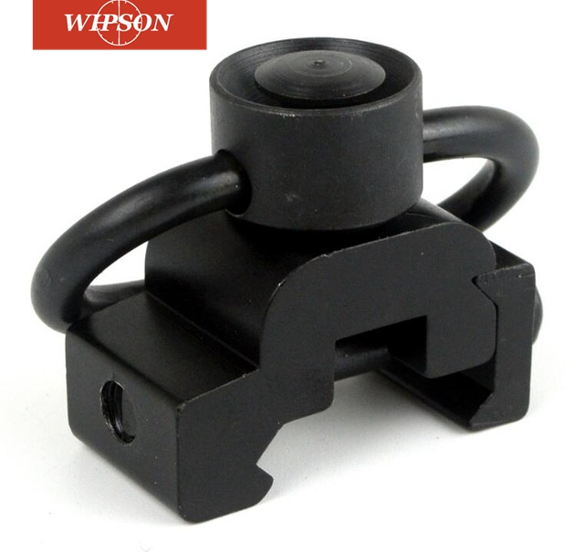 WIPSON Aluminum Adapter Set 20mm Rail Mount Base Quick- Detach 1-1/4 Push Button Sling Swivel Picatinny Connecting Sling Ring