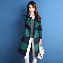 New 2016 Casacos Femininos Women Coat Women's Plus Size Slim Woolen Coat Autumn Winter Wool Coat  Plaid Overcoat Students C216
