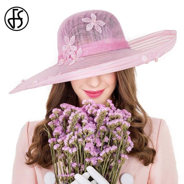 FS di Estate di Stile Britannico Rosa di Fiori di Lino Kentucky Derby  Cappello di Fedora 07a2f334e9f5