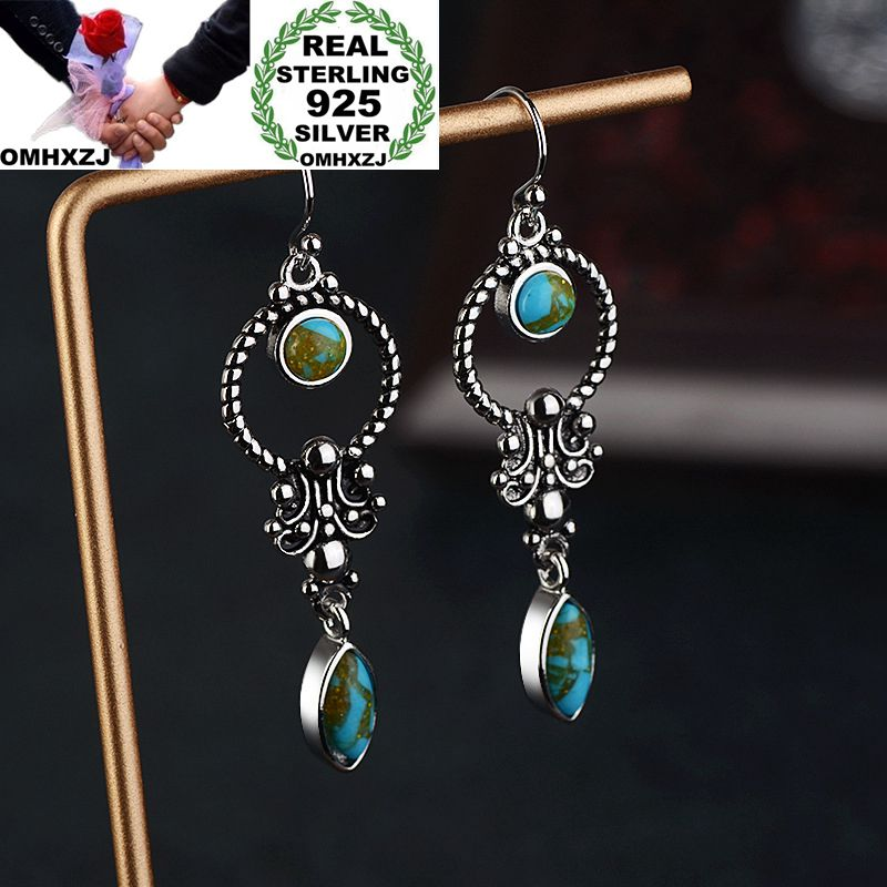 OMHXZJ Drop-Earrings Geometric-Turquoise Wedding-Gift Sterling-Silver S925 Fashion Woman