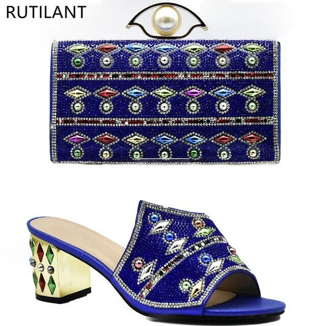 169487a68 Mulheres Sapatos e Bolsa Conjunto Na Itália Royal Blue Cor Senhoras  Italiano Sapatos e Bolsa Conjunto