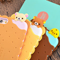 New Cute 3D Cartoon Cookie SAN-X Bear Rilakkuma Biscuit Soft Silicon Capa Phone Cases Cover For iPhone 5 SE 5S 6 6S 6G 7 7 Plus