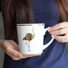 Große Flamingo Tassen Bone China Kaffeetasse Tier Vogel Tasse für Tee und Milch Gold Rosa Bunte Becher Kreative Weihnachten geschenke