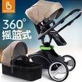Black frame --- babysing luxo high-paisagem carrinho de bebê com alcofa, carrinho de bebé 2 em 1,360 graus de rotação/carrinho de bebê