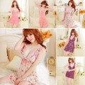 Mulheres Sexy macio flores camisola Babydoll vestido pijamas roupa g-corda