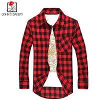 2017 New Fashion Brand Men Shirt Cotton Lattice Dress Shirt Long Sleeve Slim Fit Camisa Masculina
