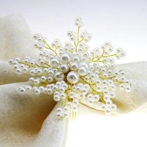 Image 2 - Trasporto libero della perla anello di tovagliolo perline napkin holder per la cerimonia nuziale molti colori 12 pz