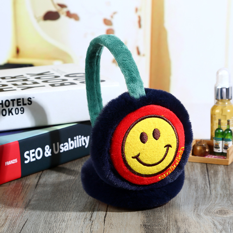 fluffy plush Earmuffs for boys girls Winter cute warm Ear Warmers fur Ear Cover ear protectors smiling face Earflaps blue red