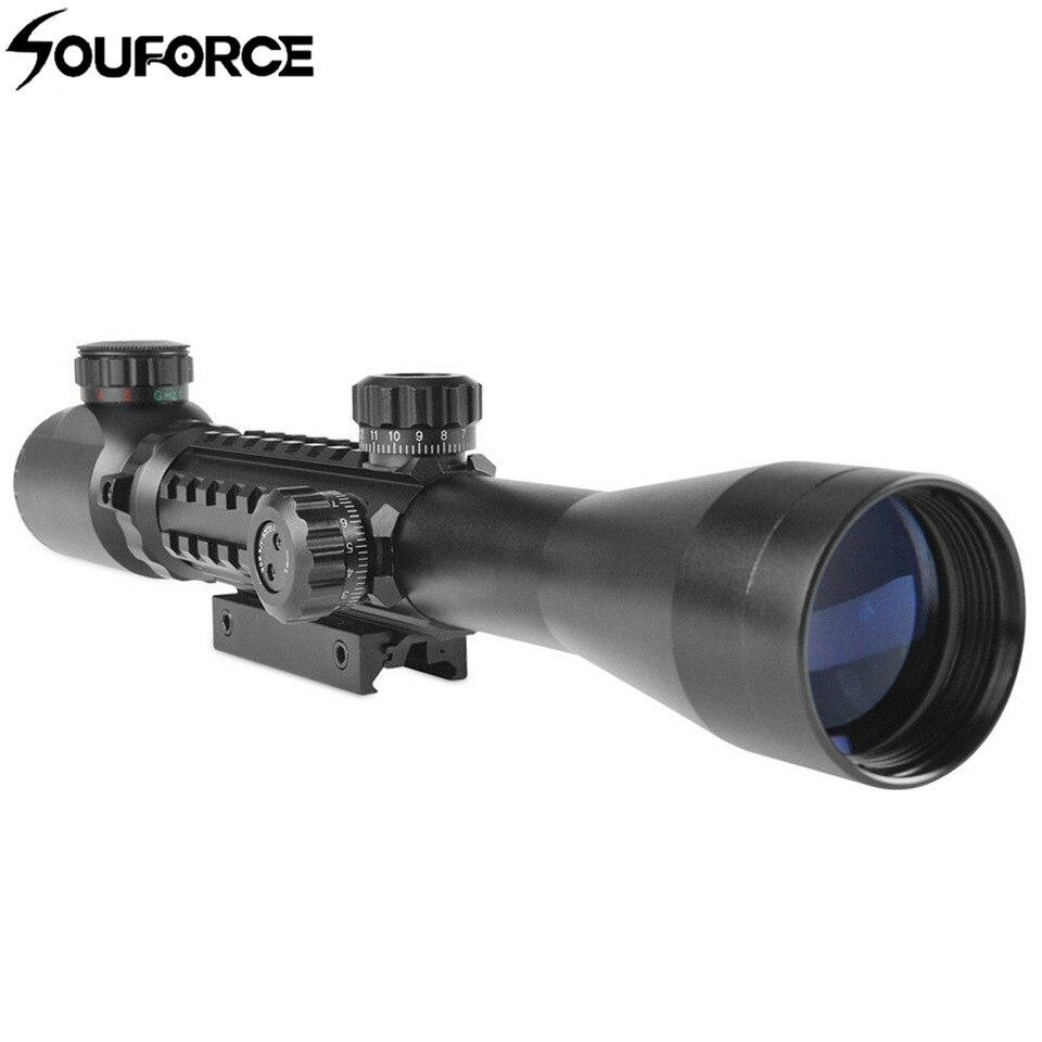 Aluminum 3-9X40 Illuminated Red/Green Rangefinder Reticle Riflescope of Tripe Picatinny Rail Hunting Airsoft Rifle Scope цена