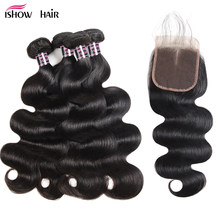 Ishow Indian Body Wave 4 Bundles Human Hair With Closure 100% Human Hair Bundles Lace Closure With Baby Hair Non Remy Hair(China)