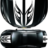 Car Racing Flame Fashion Personality Stripe Hood Trunk Decals Front Rear Sticker Vinyl Sticker