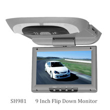 9 inch bus/car/taxi TFT LCD roof Mounting AV Monitor for DC 36V dual video input SH981 Gray