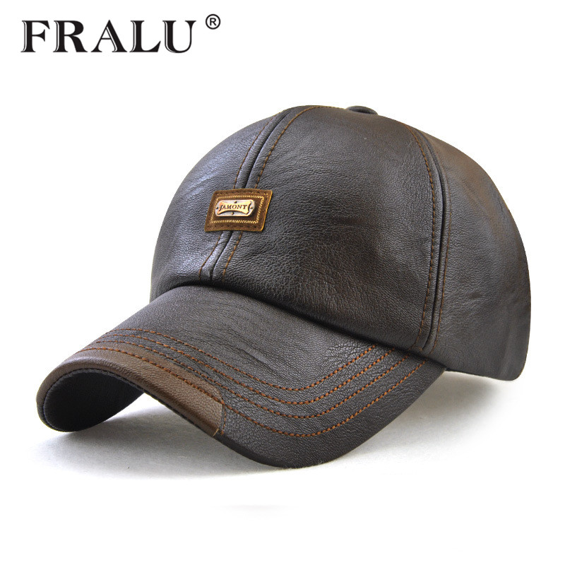 FRALU New fashion high quality faux leather   Cap   fall winter hat casual snapback   baseball     cap   for men women hat wholesale