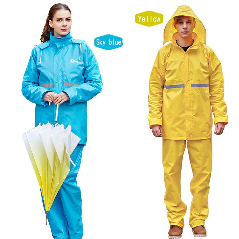 Rainfreem طبقة مزدوجة كتيمة معطف واق من المطر النساء/الرجال معطف واقي من المطر دعوى في الهواء الطلق النساء دراجة نارية ملابس ضد المطر المعطف المطر