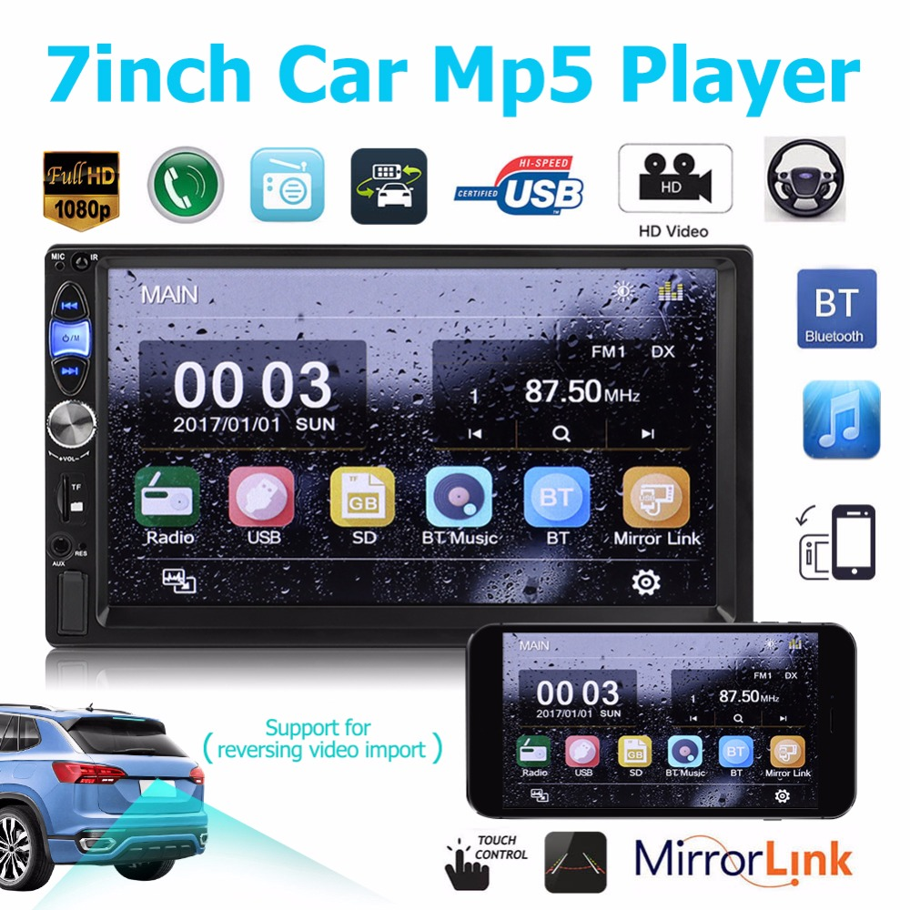 7035B MP5 Car Player 2Din 7inch Touch Screen Audio Stereo USB/AUX/Bluetooth 3D Dynamic UI Car Video with Remote Control