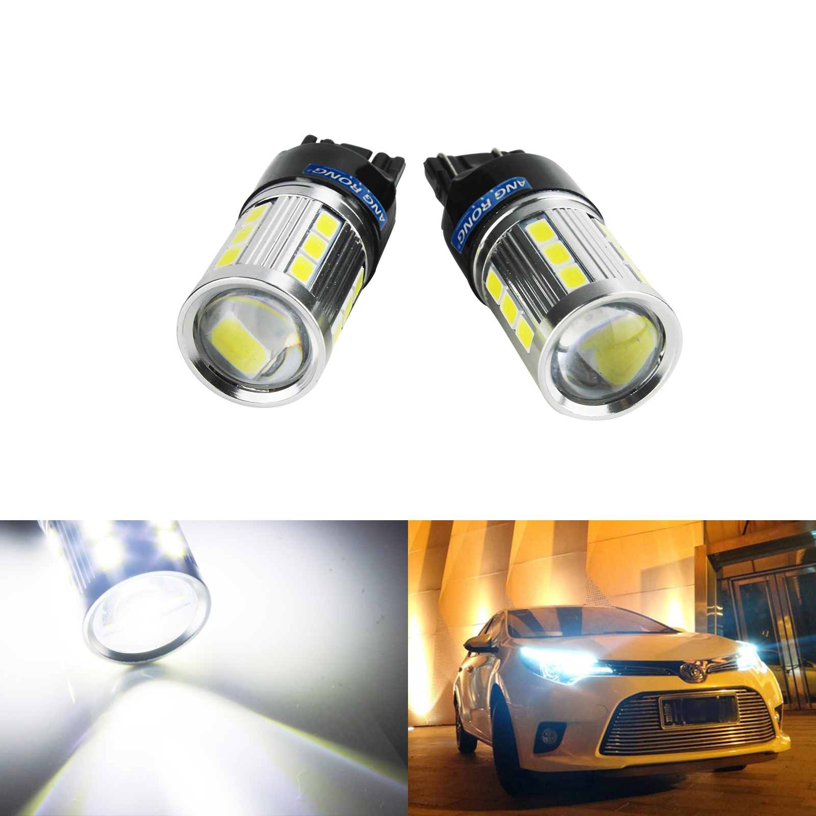 2 x T20 W21//5W 580 7443 Clear Standard DRL Bulbs Car Vehicle Daytime Running Driving Light Sidelight
