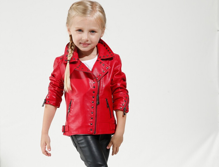 4d7e8bd77 Children Kid Girl and Boy red black PU Leather Biker Motorcycle ...