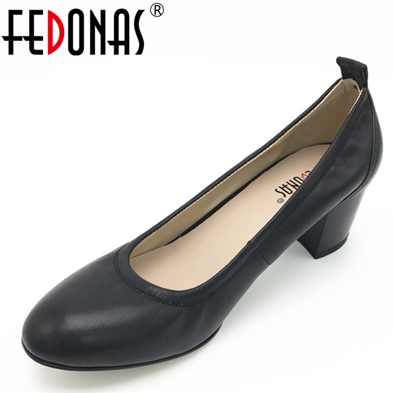 FEDONAS Soft Genuine Leather Shoes Full Season Black High Heels Women Classic Thick Heel Round Toe Pumps Fashion Party Shoes
