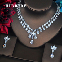 HIBRIDE Beauty Flower Design Dubai Jewelry Sets For Women Bride Necklace Set Wedding Dress Accessories Anniversary Gifts N 379