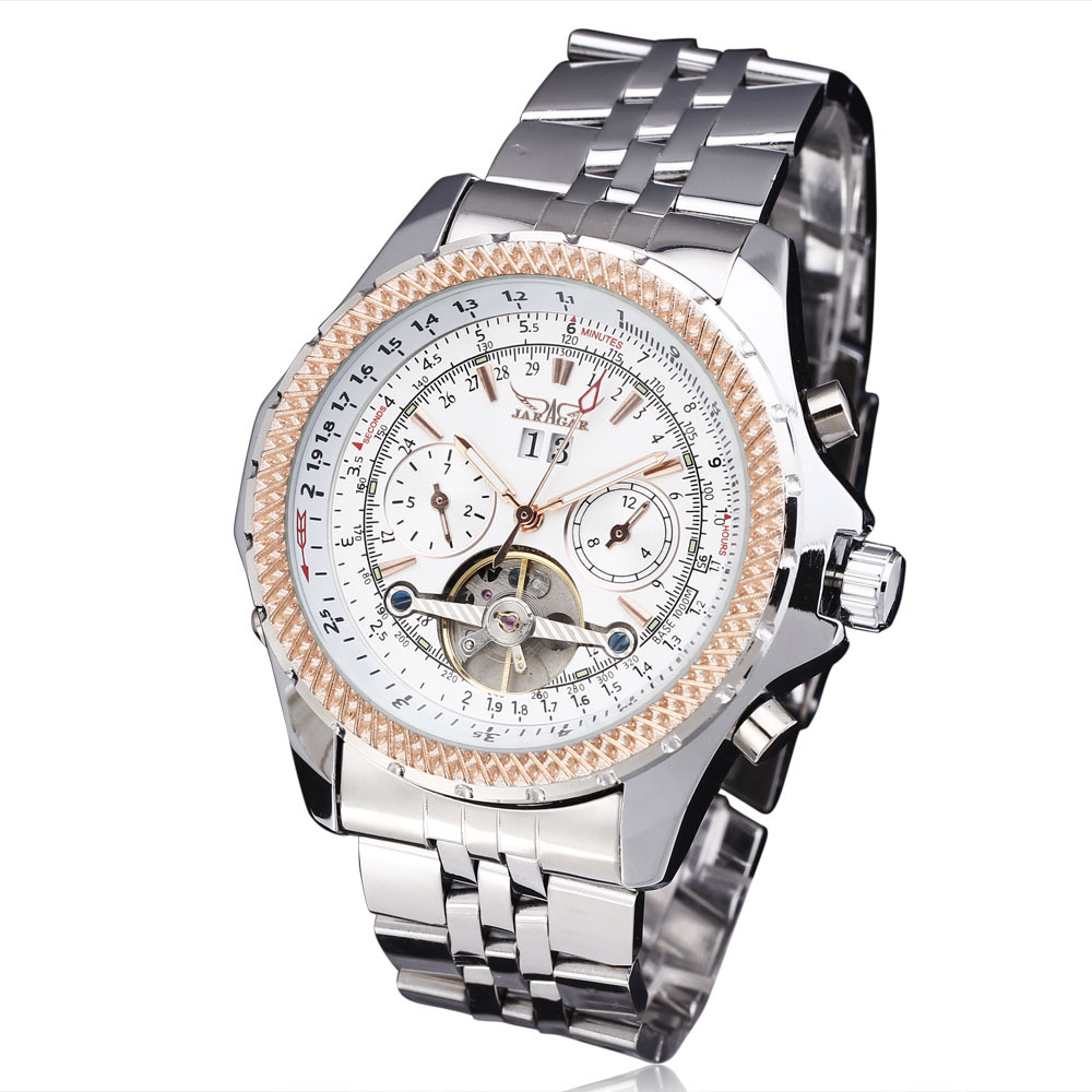 WINNER Men Mechanical Watch Date Tourbillon Stainless steel Strap Black Dial Silver Case11