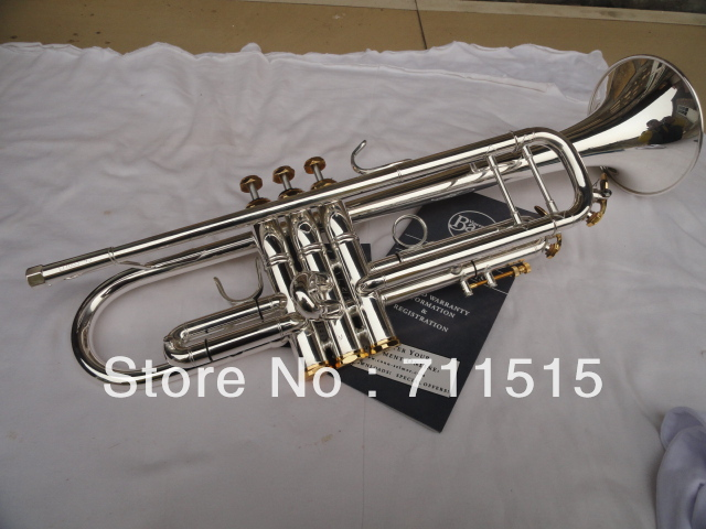 High Bach Drops B Trumpet Silver Plated Brass Instruments Bb Trumpete Professional Trumpeta Instrumentos Musicais 180 S-43  brand new bach brass trumpet lt190gs 77 bb silver plated gold key trompeta profissional instrumentos case mouthpiece