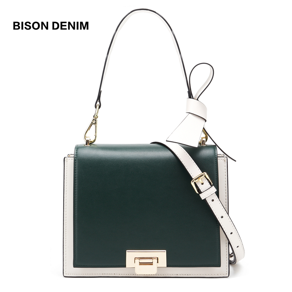 BISON DENIM luxury handbags women bags designer Cow Leather shoulder bags for women 2019 Bow Tote