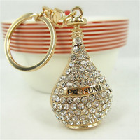 YS279 New Rhinestone Perfume Fragrance Bottle Keyring Crystal Charm Keychain Bag