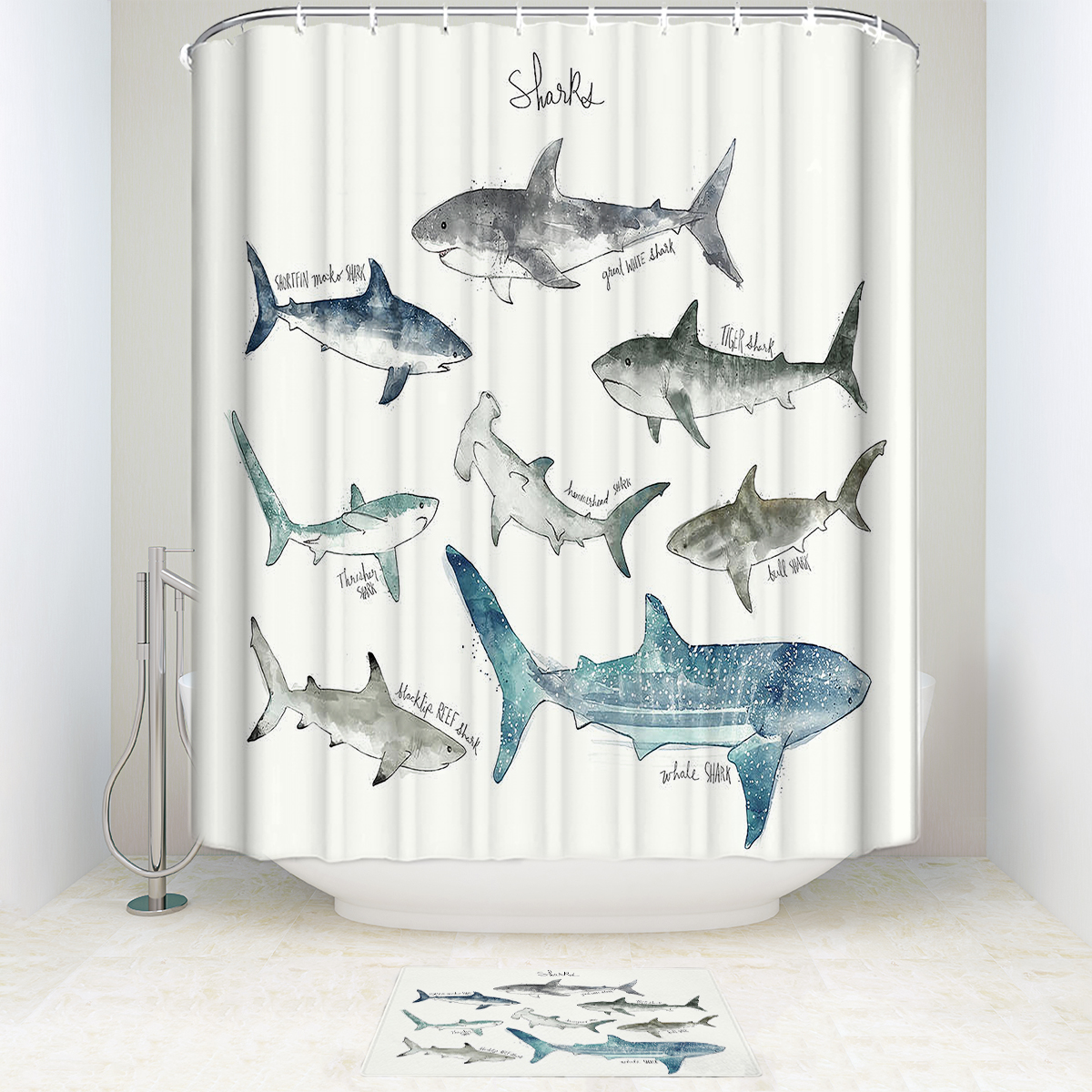 Us 14 89 25 Off Sea Fish Shower Curtain And Mat Set For Children S Room Funny Waterproof Fabric Bathroom Shower Curtain For Home Decoration In
