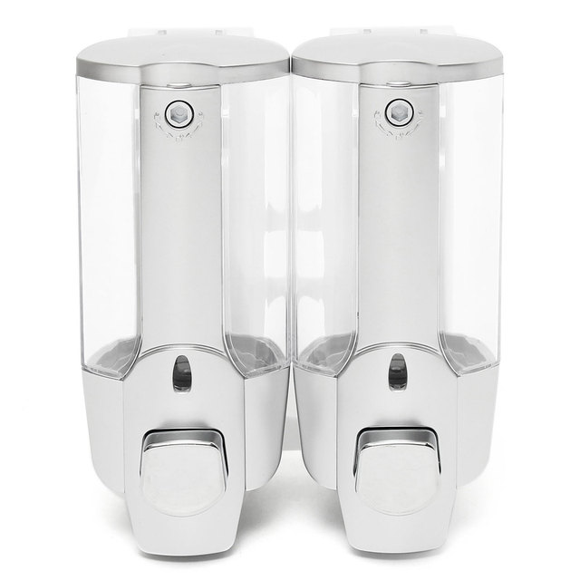 350ml 2 Bathroom Double Handle Soap Dispenser Wall Mounted Liquid Home Shampoo Box