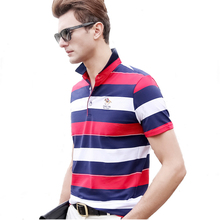 Hollirtiger Striped Mens Polo 95% Cotton Collar Anti Wrinkle Tees Red Gray Contrast Homme Embroidered Short-sleeve Shirts