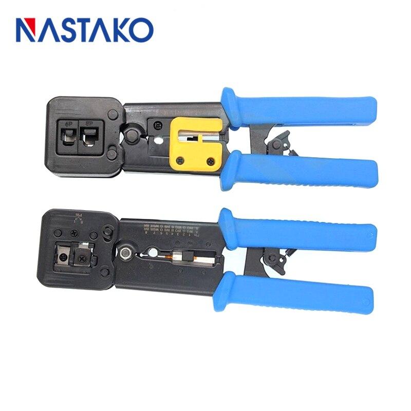 Nastako инструменты RJ11 EZ RJ45 Щипцы для наращивания волос Кримпер обжимной инструмент для зачистки кабеля прессования линия зажим Щипцы для нара...