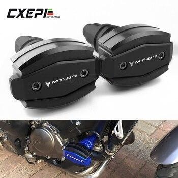 1 par Protector deslizante de Marco CNC para Yamaha MT07 MT 07 2015 2016 2017 2018 2019 deslizadores de protección de motor con logotipo de MT-07