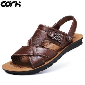 Cork New Leather Sandals Men Roman Sandals Summer Beach Men Casual Shoes Beach Flip Flops Male Fashion Outdoor Slippers Shoes