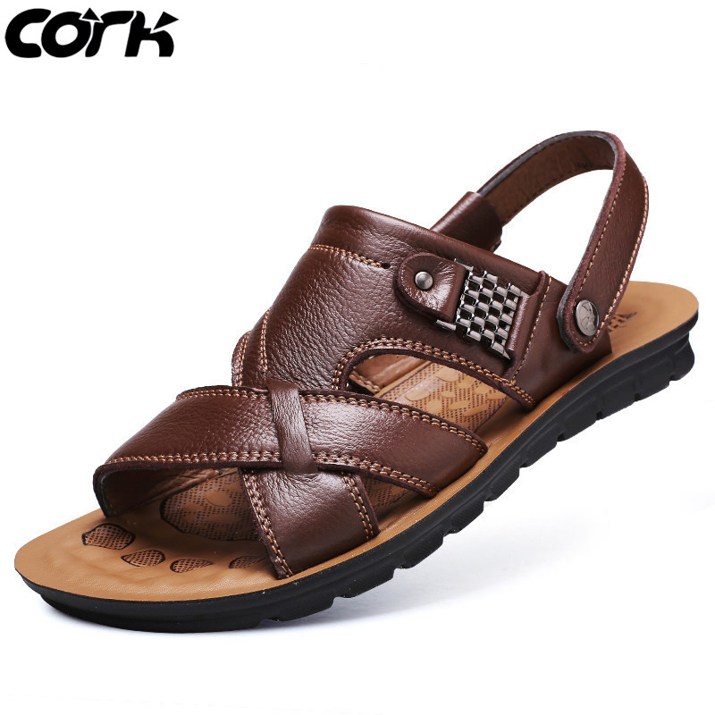 Cork New Leather Sandals Men Roman Sandals Summer Beach Men Casual Shoes Beach Flip Flops Male Fashion Outdoor Slippers Shoes