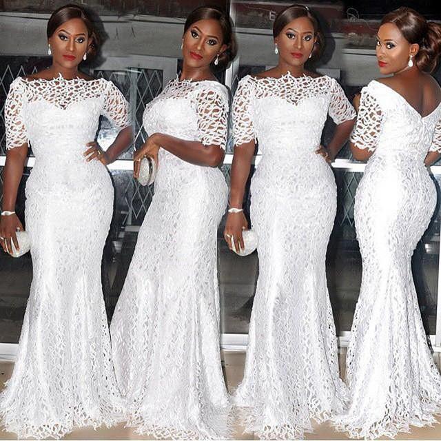 2016 promoção barato em estoque sexy mermaid prom dress vestido totalmente lace metade mangas mulheres branco formal vestidos de noite do baile de finalistas