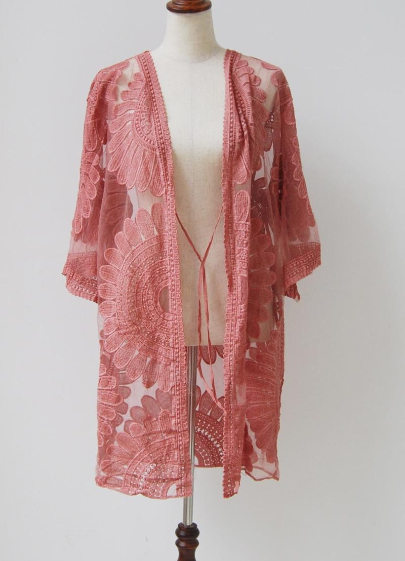 Fashionlace Sunflower Kimono Summer Cardigan floral Crochet vestidos ...