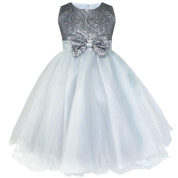 Детское платье до колена с блестками и цветочным узором для девочек возрастом от 2 до 14 лет Детские Вечерние платья на свадьбу, бальное платье, платье принцессы на выпускной, торжественное платье для девочек - Цвет: Grey